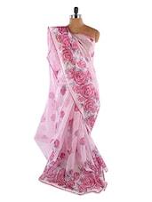 Baby Pink Rose Printed Saree - Fabdeal