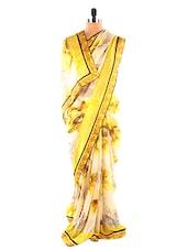 Yellow Floral Print Saree - Fabdeal