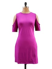 Solid Purple Sleeve Cut-out Dress - Miss Chase