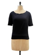 Solid Black Round Neck Top - Miss Chase