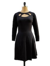 Solid Black Full Sleeved Dress - Miss Chase
