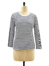 Black And White Striped Round Neck Tee - Miss Chase