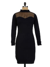 Black Net Yoke Turtle Neck Bodycon Dress - Miss Chase