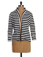 Black & White Striped Single Jersey Shrug - Miss Chase