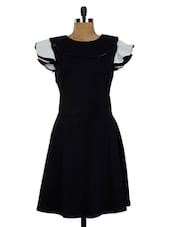 Black Frill Sleeves A-Line Dress - Miss Chase