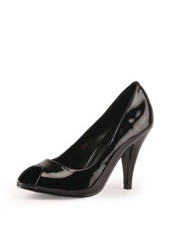 Black Patent Leather Peep Toe - Tresmode