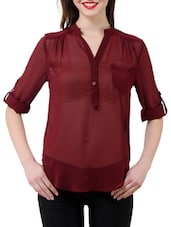 Stylish Maroon Sheer Shirt - Purys