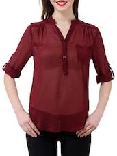 Stylish Maroon Sheer Shirt - Purys
