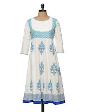White And Blue Printed Kurti - Bhama Couture