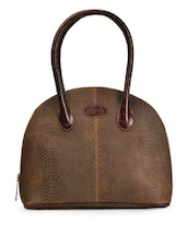 Dark Brown Crocodile Print Shoulder Bag - Paradigm