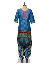 Blue Printed Cotton Kurta And Patiala Set - Tissu