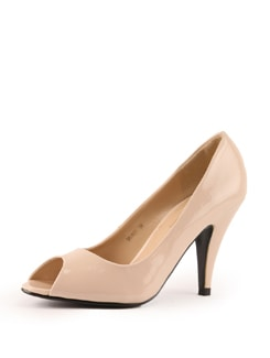 Nude Faux Leather Pumps - Tresmode