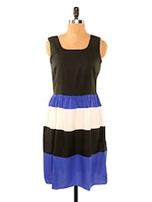 Black And Blue Striped Dress - Missy Miss