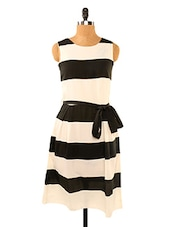 Striped Black And White Dress - Missy Miss