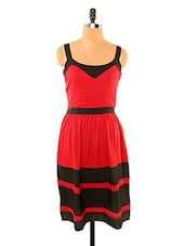 Red And Black Striped Dress - Missy Miss
