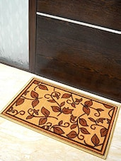 Yellow Leaf Printed Nylon Doormat - By