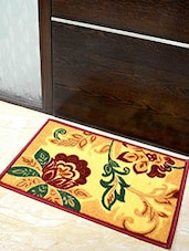 Yellow Floral Printed Nylon Doormat - By