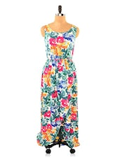 Colourful Floral Print Faux Overlap Maxi Dress - Missy Miss