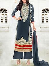 Navy Blue Semi Stitched Georgette Suit Set - By
