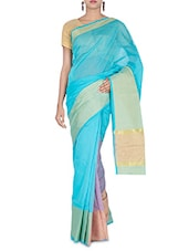 Blue Cotton And Art Silk Zari Worked Saree - By