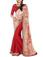 Red Moss Embroidered Saree - By