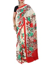Floral Printed Off-White Chiffon Georgette Saree - By
