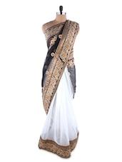 Ornate White Pure Chiffon Saree - Kashish Lifestyle