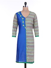 Multicolored Chevron Printed Cotton Kurta - By