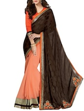 Multi Embroidered And Embellished Georgette Skirt And Satin Jacquard Pallu Half & Hlaf Saree(Light Orange,Brow - By