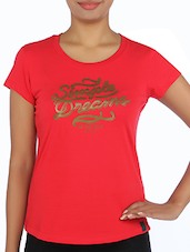 Red Cotton Printed T-shirt - By