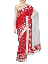 Red And White Faux Georgette Printed Saree - By