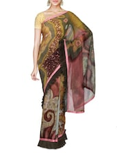 Multicolored Shimmer Faux Georgette Printed Saree - By