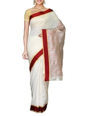 White Art Silk Red Bordered Saree - By