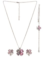 Pink Studded Pendant Set -  online shopping for Sets