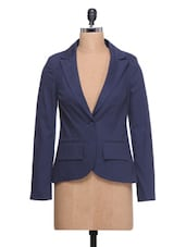Navy Blue Full-sleeved Blazer - By