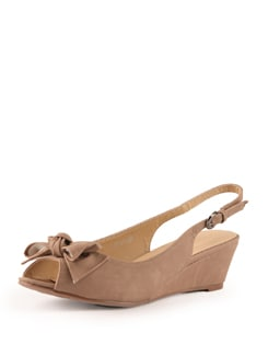 Beige Wedge Heels With Bow Detail - Tresmode