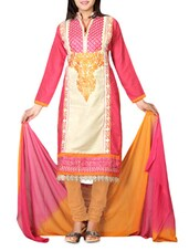 Multicolored Cotton Embroidered Unstitched Suit Set - By