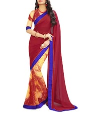 Red And Yellow Faux Georgette Printed Sari - By