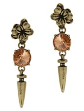 Pink And Gold Stone Metallic Drop Earrings - By