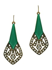 Green And Antique Gold Embellished Earrings - By