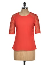Red Lace Sleeved Top - Aussehen