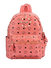 Peach Printed And Studded Faux Leather Backpack - By