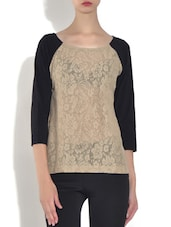 Tan Brown Cotton Laced Top - By