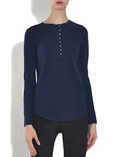Dark Blue Viscose Top - By