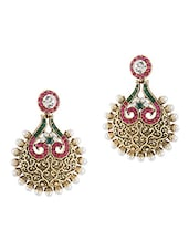 Gold  Rajwada Pearl Drop Earrings - By