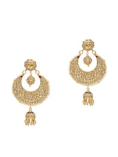 gold Metallic Embellished Pearl Kundan Worked Earrings -  online shopping for Sets