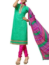 Green Chanderi Silk Embroidered Salwar Suit Set - By