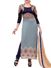 Blue Georgette Embroidered Salwar Suit Set - By