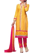 Yellow Cambric Cotton Embroidered Salwar Suit Set - By