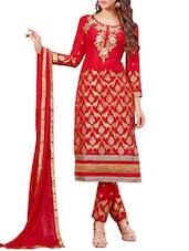 Red Cambric Cotton Embroidered Salwar Suit Set - By